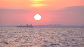 Sunset view from the yacht. In the Black Sea stock video