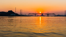Sunset view at Zhujiang river Stock Photo