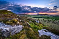 Sunset viewed from top of Great Wanney Crag royalty free stock photography