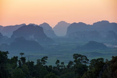 Sunset from the viewpoint of Wat Tham Seua Stock Photo