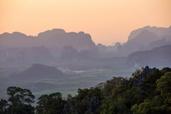 Sunset from the viewpoint of Wat Tham Seua. (Tiger Cave), Krabi, Thailand Royalty Free Stock Photo