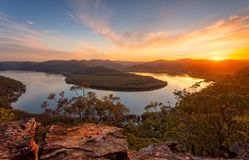Sunset views across the river bend stock images