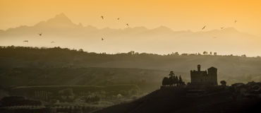 Sunset Views In The Langhe Unesco Heritage Stock Photo