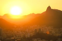Sunset views of Jesus and Corcovado Royalty Free Stock Image