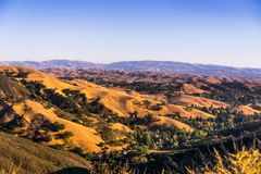 Sunset views towards Danville. And the hills surrounding Mt Diablo State Park on a sunny day; San Francisco bay area, Contra Costa county, California royalty free stock photography