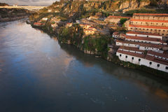 Sunset at Vila Nova de Gaia by Douro River in Portugal Stock Photography