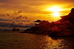 Sunset Villa in Rocks Stock Photo
