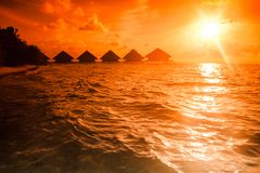 Sunset Villa Standing Stock Photography