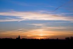 Sunset village Stock Photography