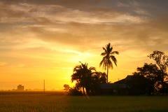 Sunset in village Stock Image