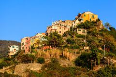 Sunset in the Village of Corniglia Stock Photography