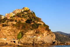 Sunset in the Village of Corniglia Royalty Free Stock Photography