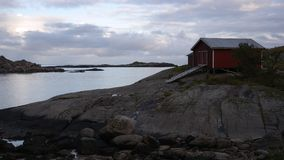 Sunset in A. Village at the end of Lofoten peninsula, Norway Royalty Free Stock Photos
