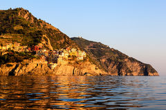 Sunset in the Village of Manarola Royalty Free Stock Photography