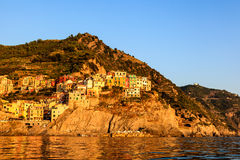 Sunset in the Village of Manarola Royalty Free Stock Image