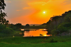 Sunset in village. In river with beautiful sky in red and orange color stock image