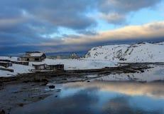 Sunset in the village Teriberka, Murmansk region, Russia Stock Photo