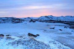Sunset in the village Teriberka, Murmansk region, Russia Royalty Free Stock Photo