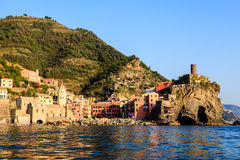 Sunset in the Village of Vernazza Royalty Free Stock Images
