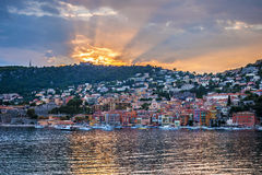 Sunset in Villefranche-sur-Mer Royalty Free Stock Photography