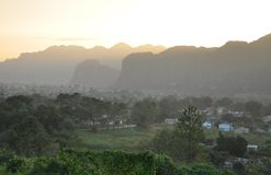 Sunset in Vinales, Cuba Royalty Free Stock Images