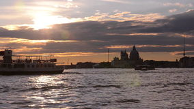 Sunset in Vinece. Bay of San Marco stock footage