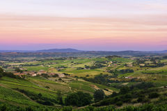 After the sunset, vineyards of Beaujolais, France Royalty Free Stock Photography