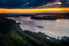 Sunset from the Vista House in Columbia River Gorge  Royalty Free Stock Photo