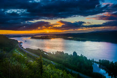Sunset from the Vista House in Columbia River Gorge  Stock Images