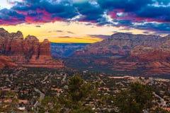 Sunset Vista of Sedona, Arizona stock photography