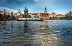 Sunset on the Vltava River with a view of the Charles Bridge royalty free stock photography