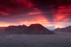 Sunset at Volcanoes of Bromo Stock Images