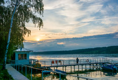 Sunset on the Volga river. Royalty Free Stock Photography