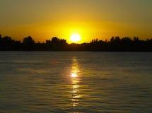 Sunset on the Volga River stock image