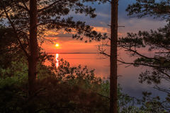 Sunset on the Volga River, the sun sets over the horizon Stock Image