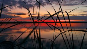 Sunset on the Volga river stock photography