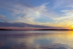 Sunset on Volga, Russia Royalty Free Stock Images