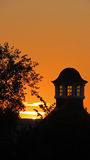 Sunset in Volkspark in Enschede. Silhouet of tower at sunset in Enschede, the Netherlands Stock Photos