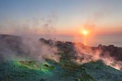 Sunset on Vulcano island. Fumaroles on Vulcano island at sunset, Aeolian islands, Italy Stock Image