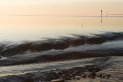 Sunset at Wadden Sea royalty free stock photography