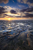 Sunset at the Wadden sea - Netherlands Stock Photography