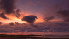Sunset at the Waddensea Royalty Free Stock Photos