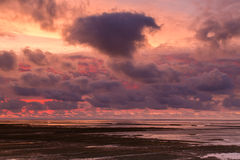 Sunset at the Waddensea Royalty Free Stock Photo