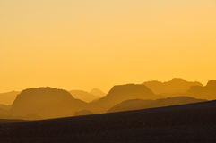 Sunset at Wadi Rum desert, Jordan Royalty Free Stock Images
