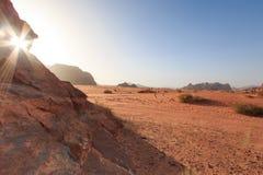 Sunset in the Wadi Rum desert, Jordan Royalty Free Stock Photos