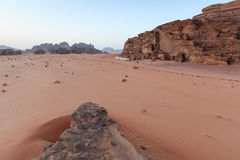 Sunset in the Wadi Rum desert, Jordan Royalty Free Stock Photography