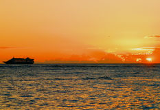 Sunset at Waikiki Royalty Free Stock Images