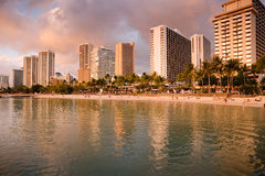 Sunset on Waikiki Beach Royalty Free Stock Photos