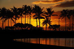 Sunset from Waikiki Beach, Honolulu, Oahu, Hawaii Royalty Free Stock Images