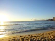 Sunset at Waikiki Beach, Honolulu Royalty Free Stock Images